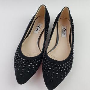 Clarks Narrative Black Leather Suede Slip On Shoes